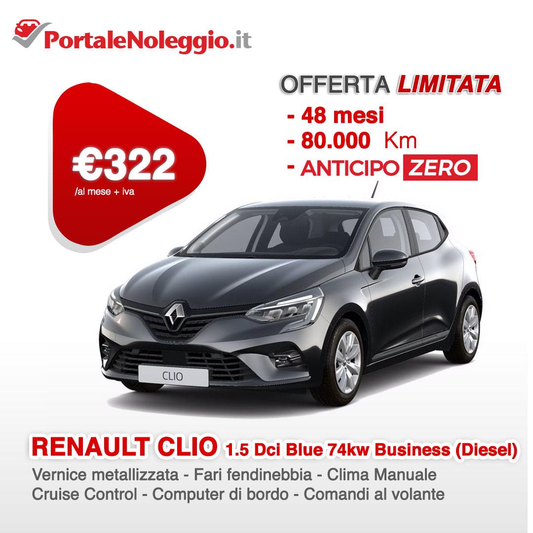 Renault Clio noleggio lungo termine offerta anticipo zero
