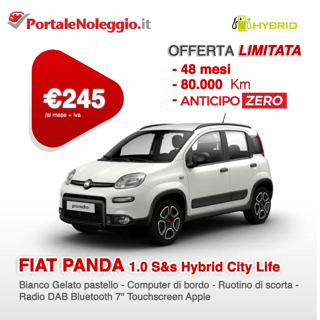 FIAT PANDA 1.0 70cv S&s Hybrid City Life Noleggio a lungo termine